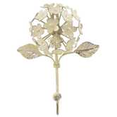 Off-White Metal Flower Wall Hook with Leaves